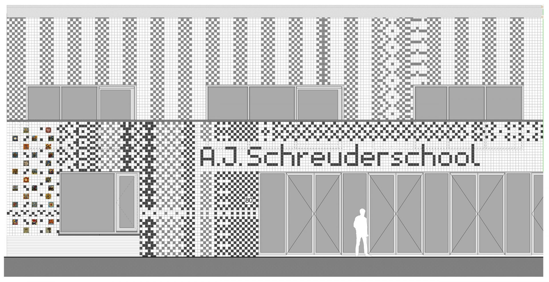 Aj Schreuderschool Tiles Line Drawing